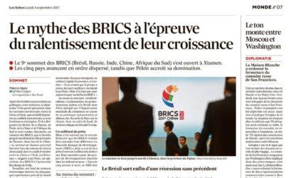 Le mythe des BRICS à l'épreuve du ralentissement de leur croissance